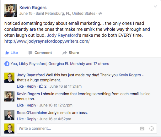 Kevin Rogers Email Testimonial